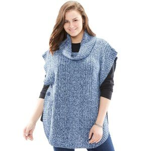 Woman Within Button Cowl Neck Poncho